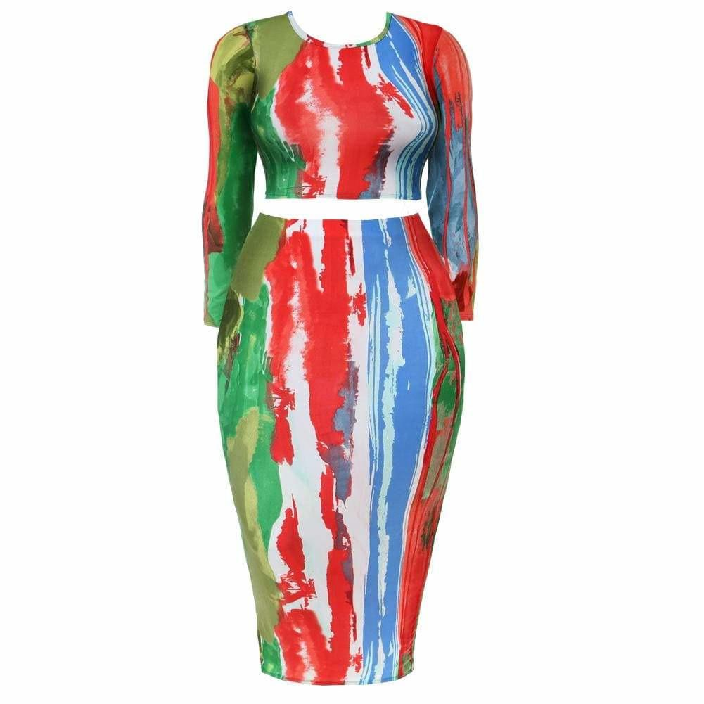 Posh Shoppe: Plus Size Tie Dye Top and Skirt Coordinated Set Dress