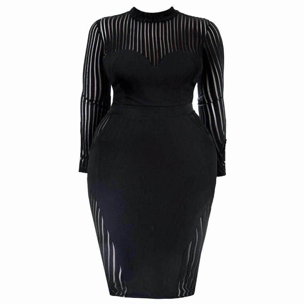 Plus Size Sheer Inset Little Black Dress