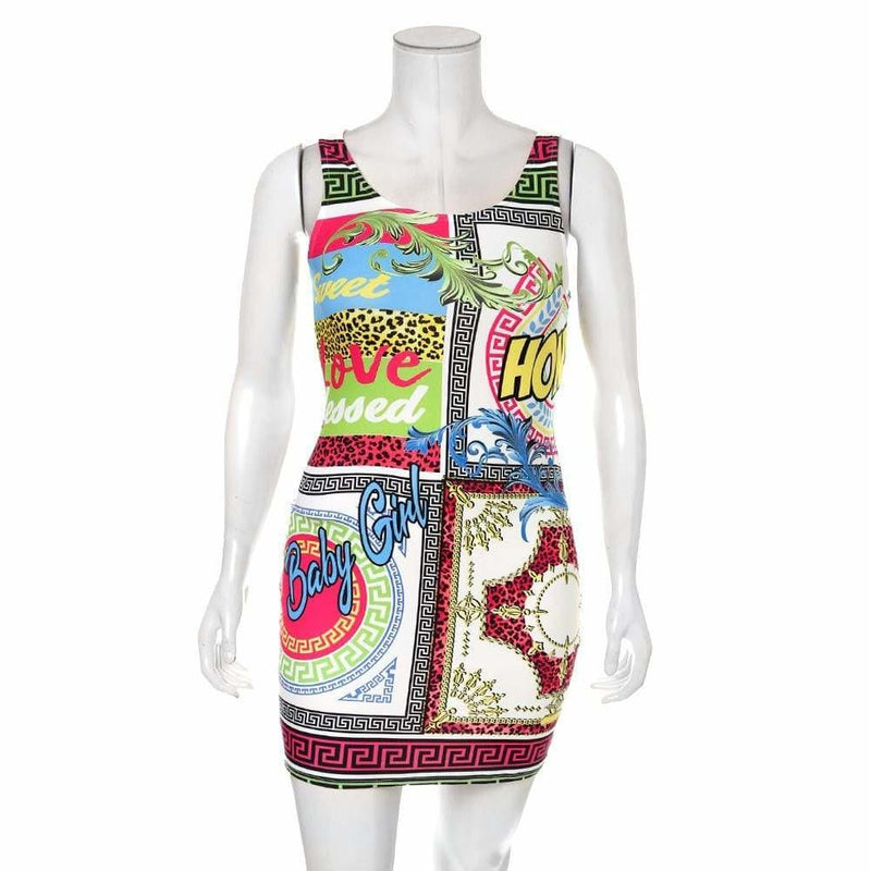 Posh Shoppe: Plus Size Tank Mini Dress, Couture Print Dress