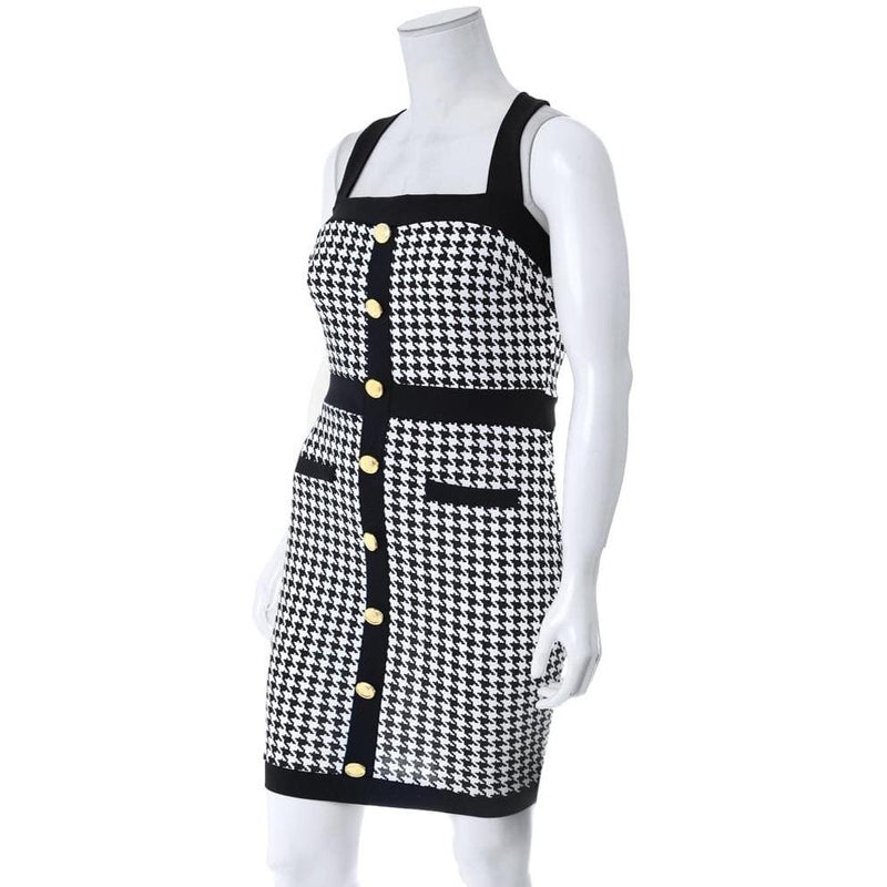 Posh Shoppe: Plus Size Button Front Houndstooth Dress Dress