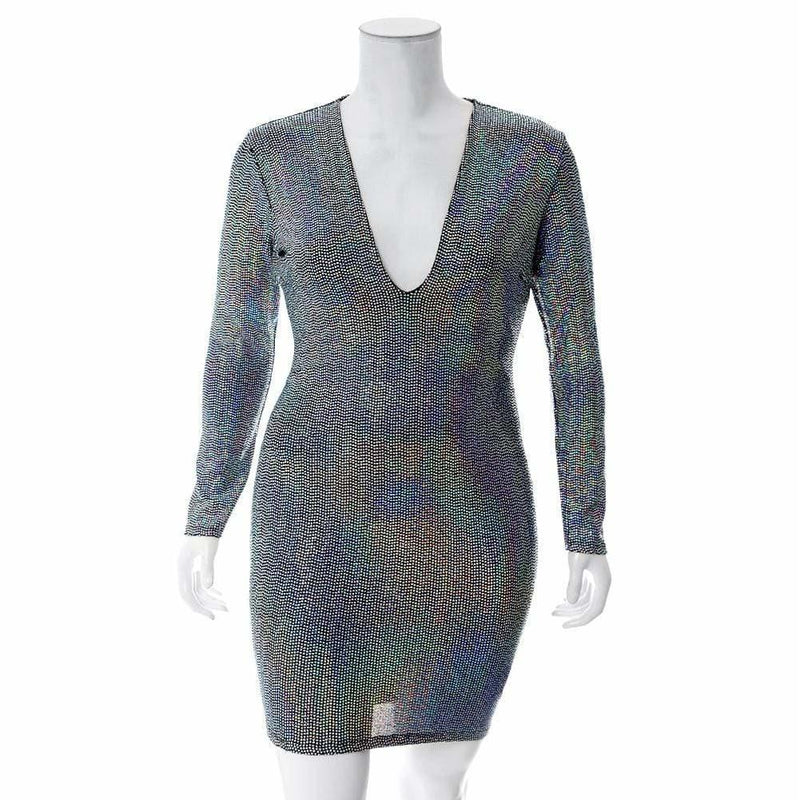 Posh Shoppe: Plus Size Sequin Mini Dress, Rainbow Platinum Dress