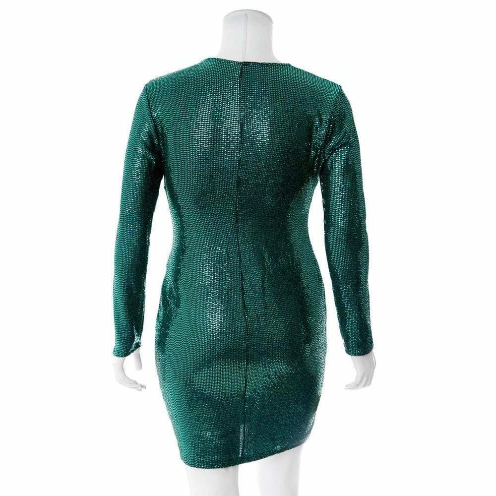 Posh Shoppe: Plus Size Sequin Mini Dress, Emerald Green Dress