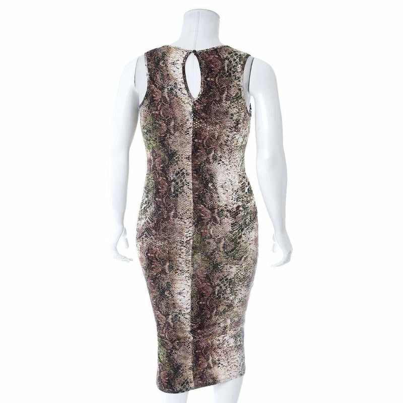 Posh Shoppe: Plus Size Sheer Insert Midi Dress, Olive Python Dress