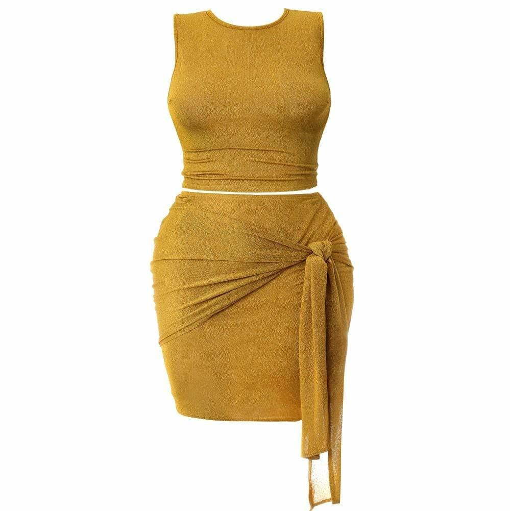 Posh Shoppe: Plus Size Knit Tank and Wrap Skirt Set, Shimmering Mustard Dress