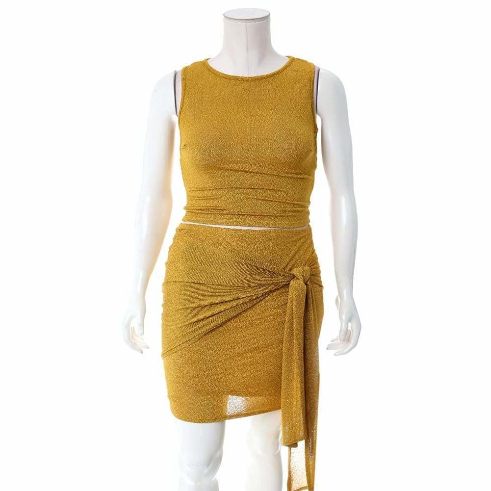Plus Size Knit Tank and Wrap Skirt Set, Shimmering Mustard