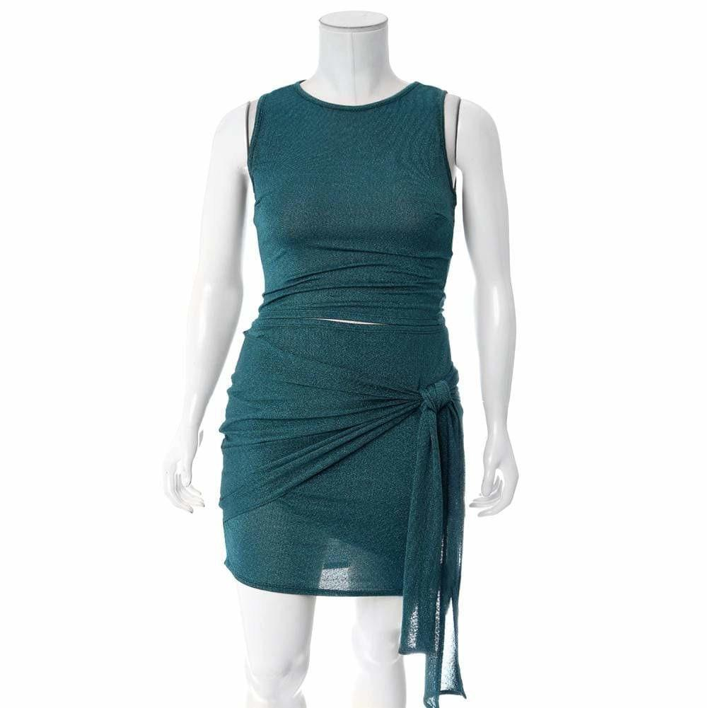 Posh Shoppe: Plus Size Knit Tank and Wrap Skirt Set, Shimmering Teal Dress
