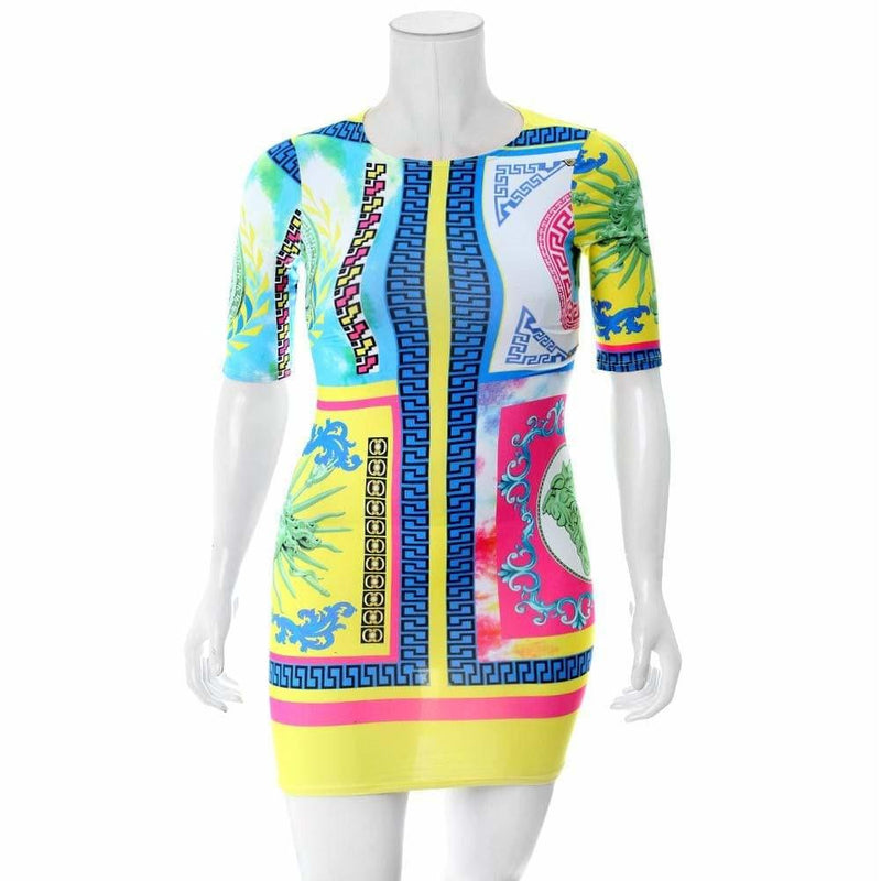 Posh Shoppe: Plus Size Printed Mini Dress, Couture Print Dress