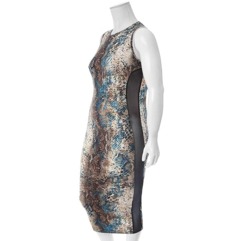Posh Shoppe: Plus Size Sheer Insert Midi Dress, Teal Python Dress