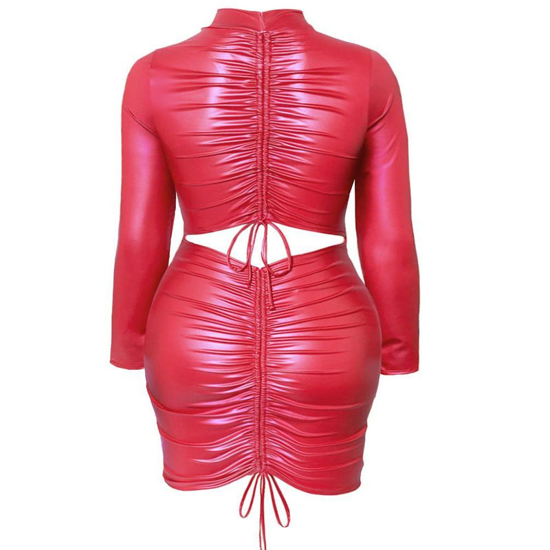 Posh Shoppe: Plus Size Faux Leather Cinch Back Mini Dress, Red Dress