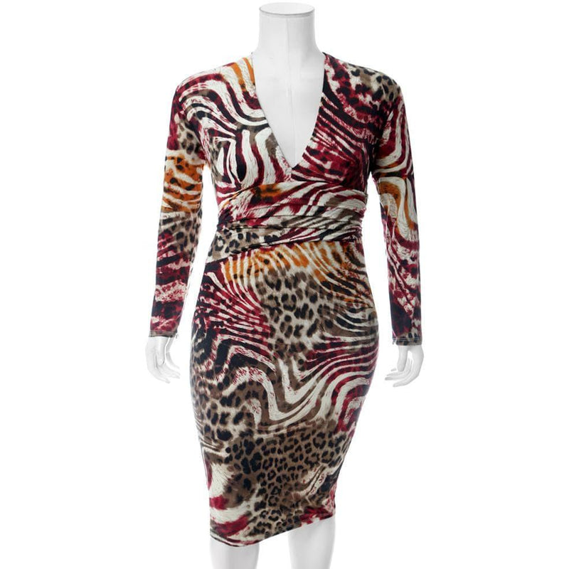 Plus Size Ruche Waist Midi, Mixed Animal Print