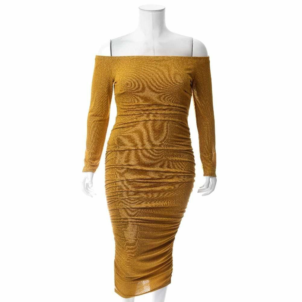Posh Shoppe: Plus Size Knit Off Shoulder Midi Dress, Shimmering Mustard Dress