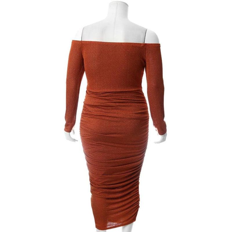 Plus Size Knit Off Shoulder Midi Dress, Shimmering Rust