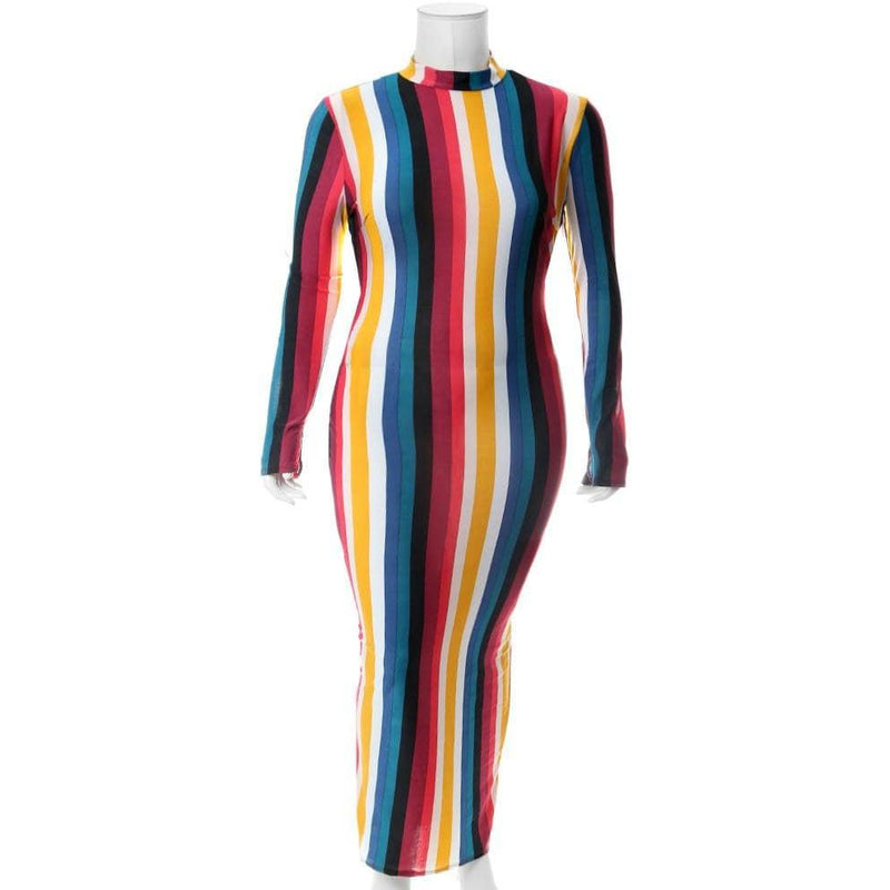 Plus Size Striped Mock Neck Maxi Dress