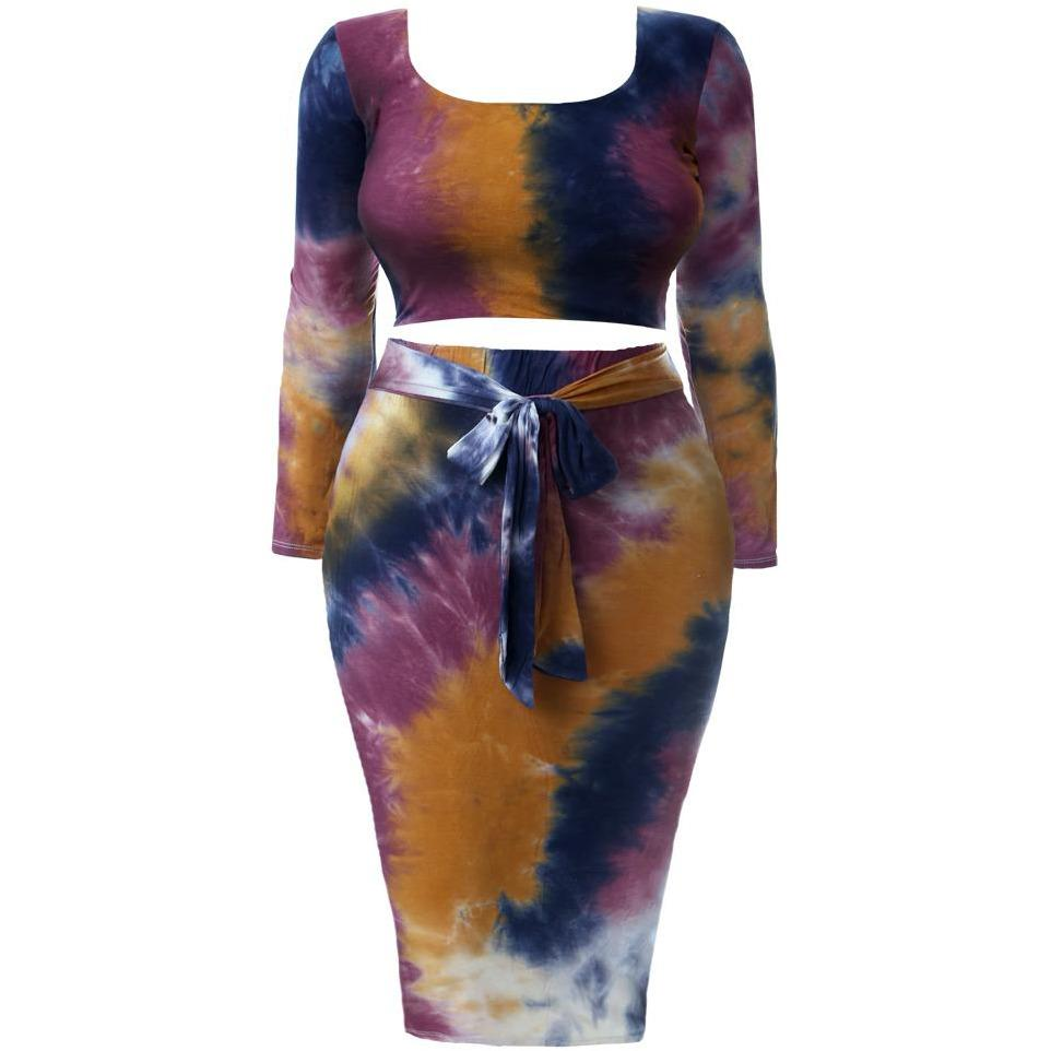 Plus Size Tie Dye Square Neck Top and Skirt, Purple