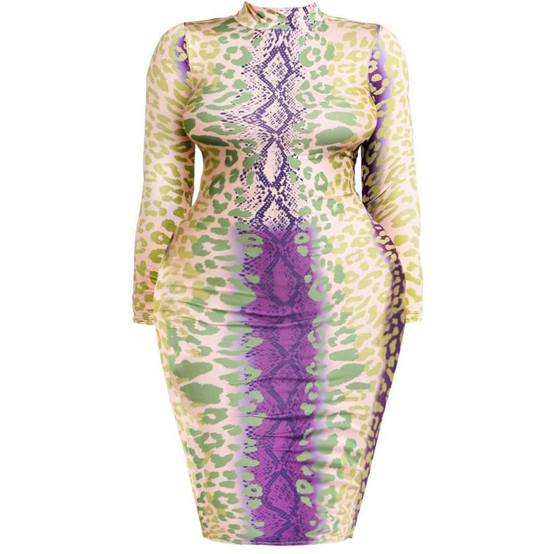 Plus Size Mock Neck Dress, Pastel Snake Print