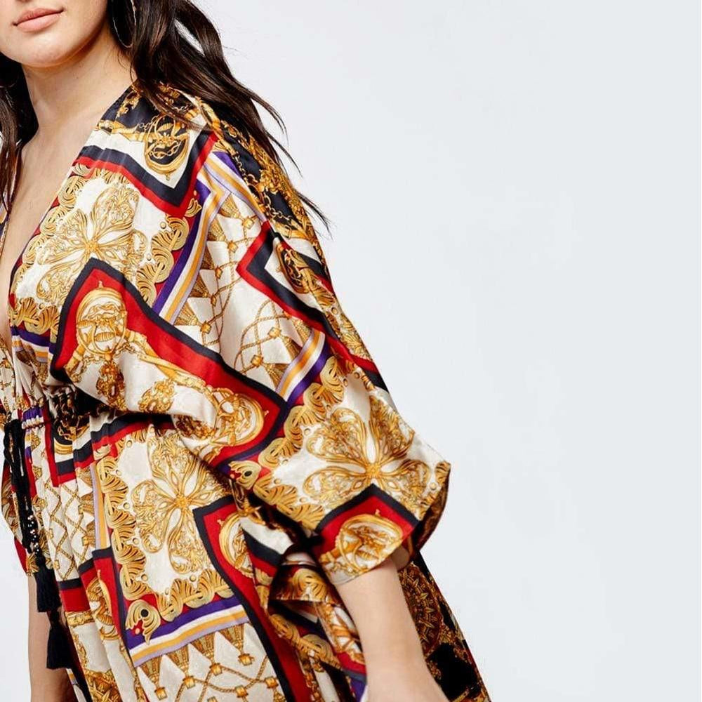 Posh Shoppe: Plus Size Sateen Tie Caftan, Scarf Print Dress
