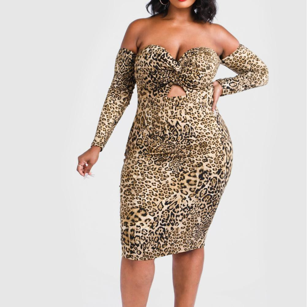 Plus Size Sweetheart Cut Out Midi Dress, Animal Print