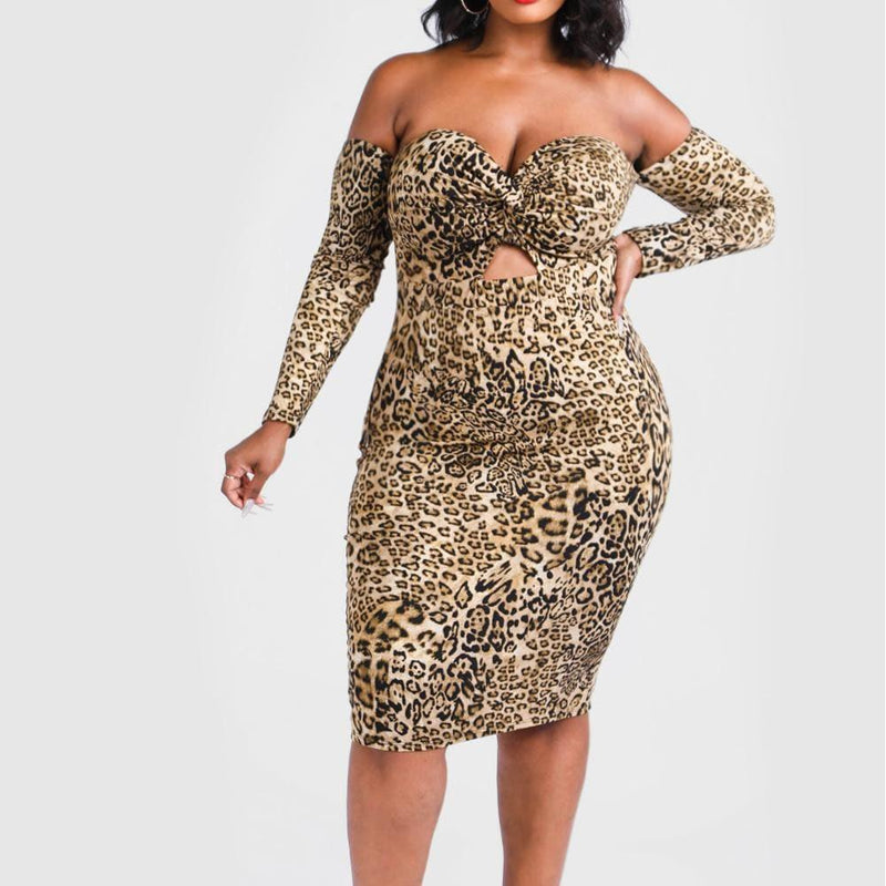 Posh Shoppe: Plus Size Sweetheart Cut Out Midi Dress, Animal Print Dress