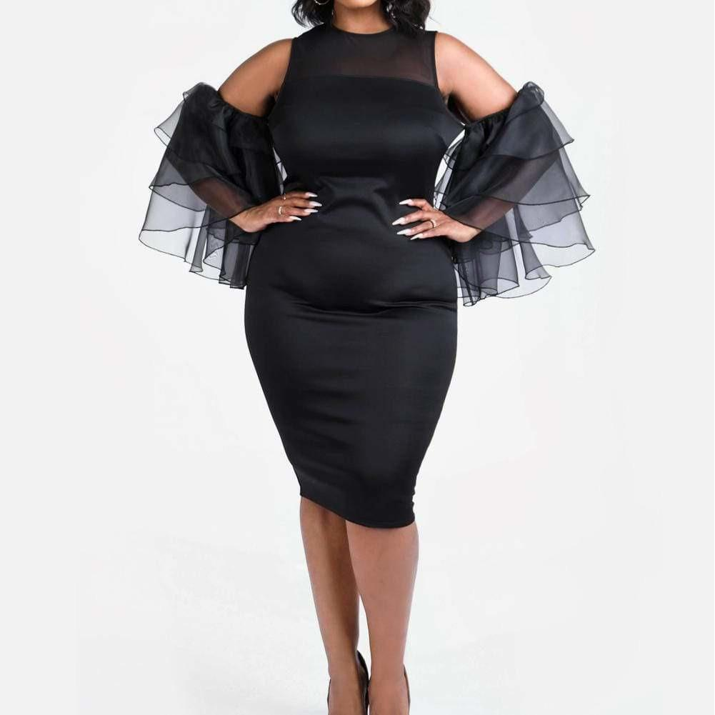 Plus Size Sheer Ruffle Sleeve LBD