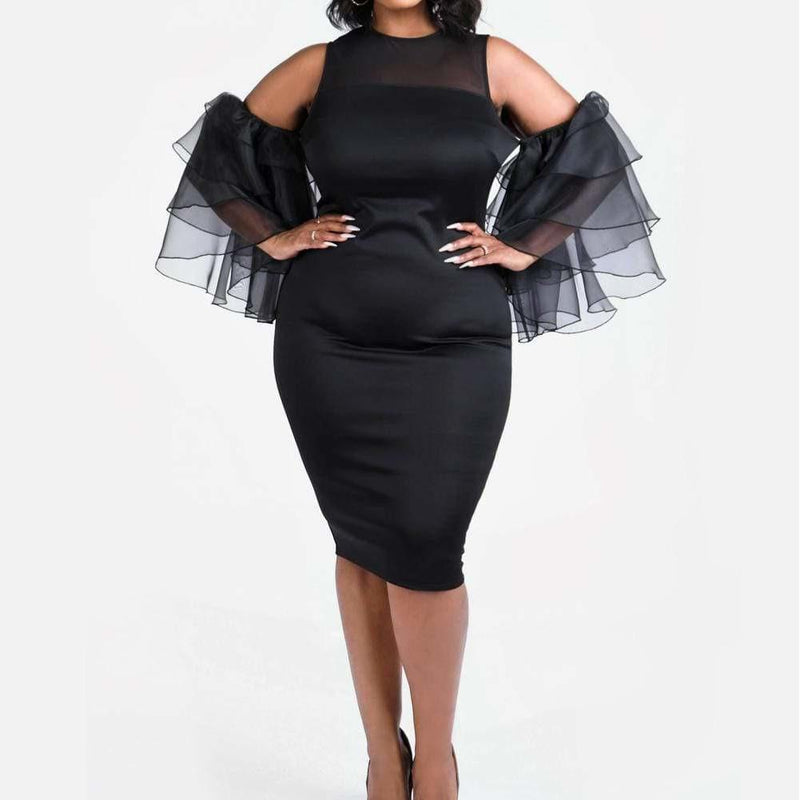 Posh Shoppe: Plus Size Sheer Ruffle Sleeve LBD Dress