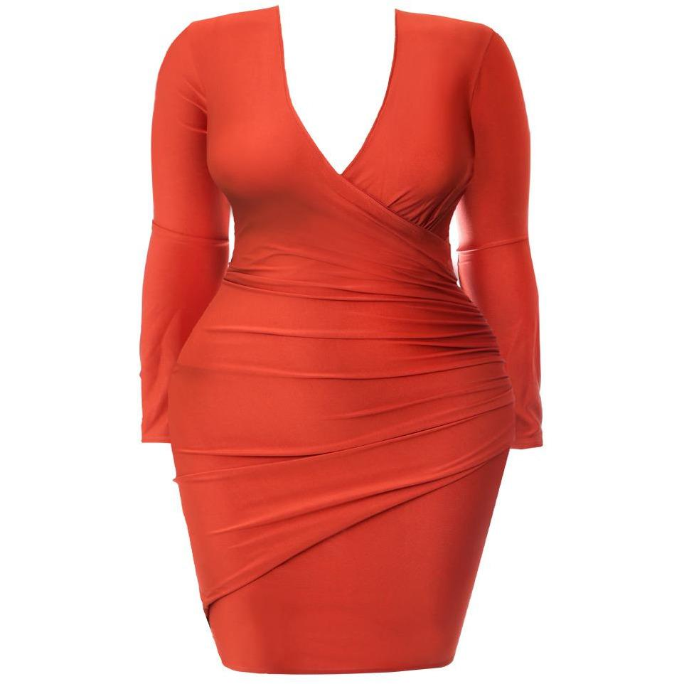 Plus Size Faux Wrap Mini Dress, Orange