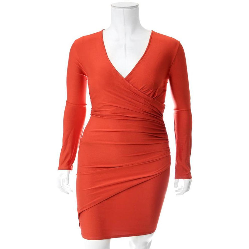 Posh Shoppe: Plus Size Faux Wrap Mini Dress, Orange Dress