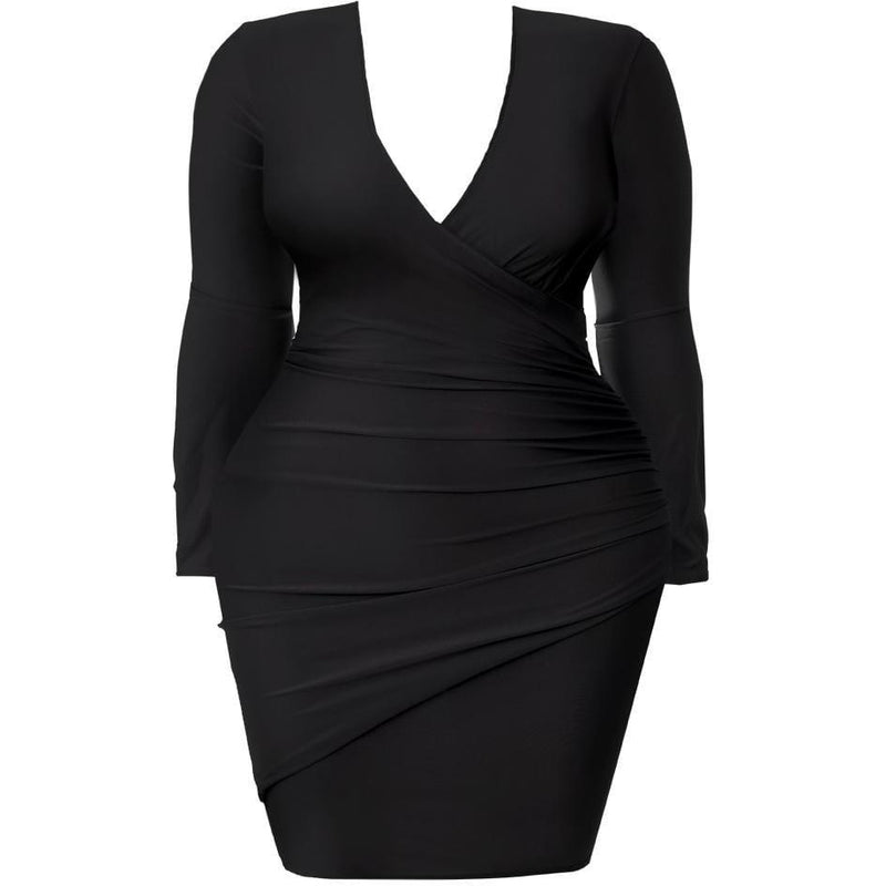 Posh Shoppe: Plus Size Faux Wrap Mini Dress, Black Dress