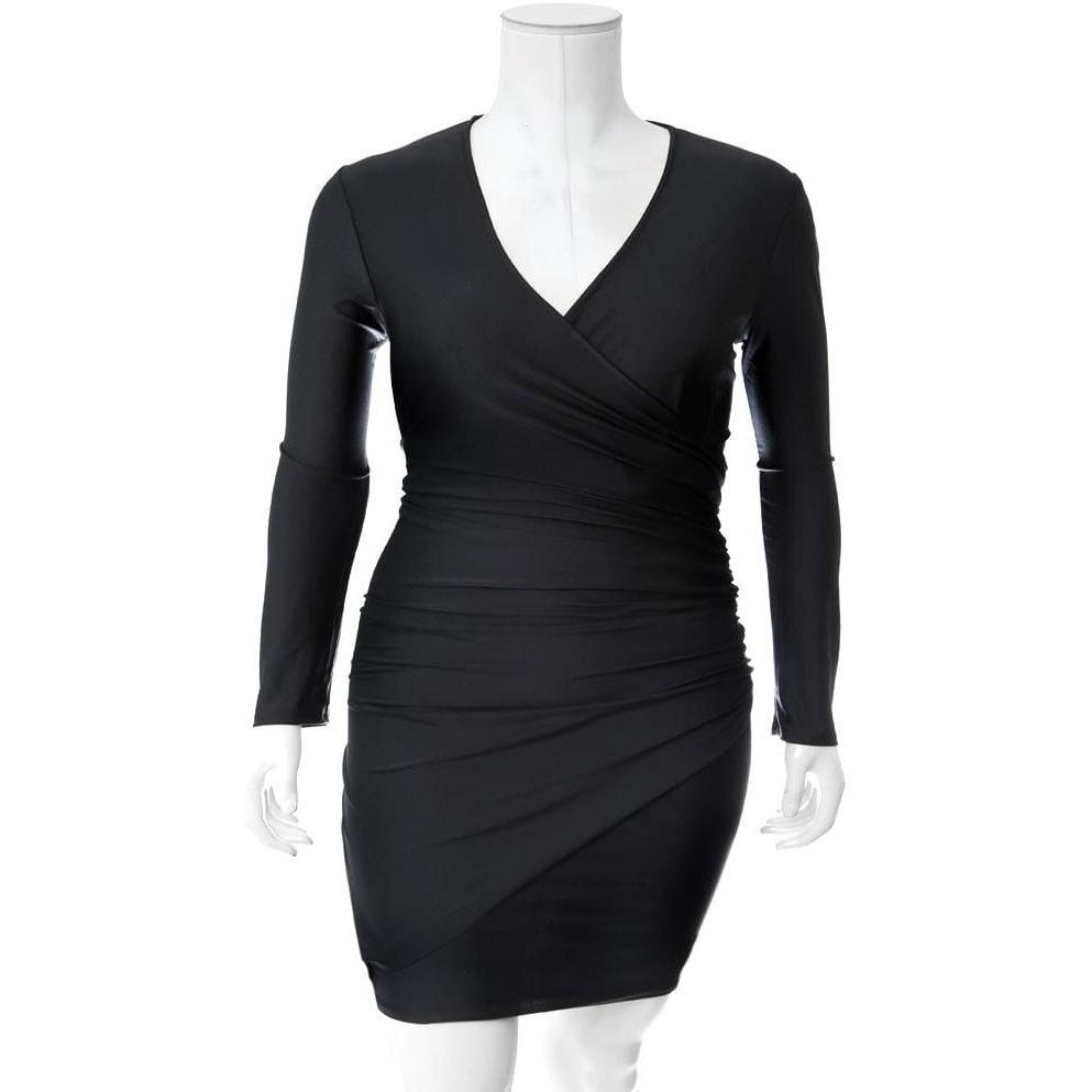 Plus Size Faux Wrap Mini Dress, Black