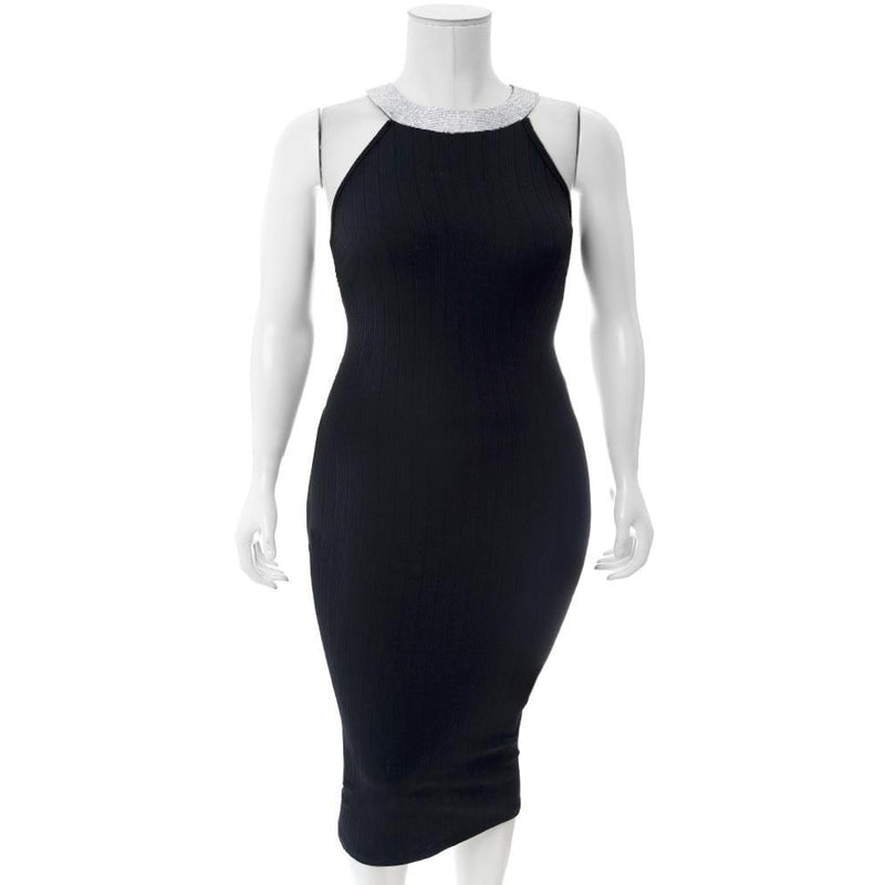 Plus Size Diamond Collar Ribbed Dress