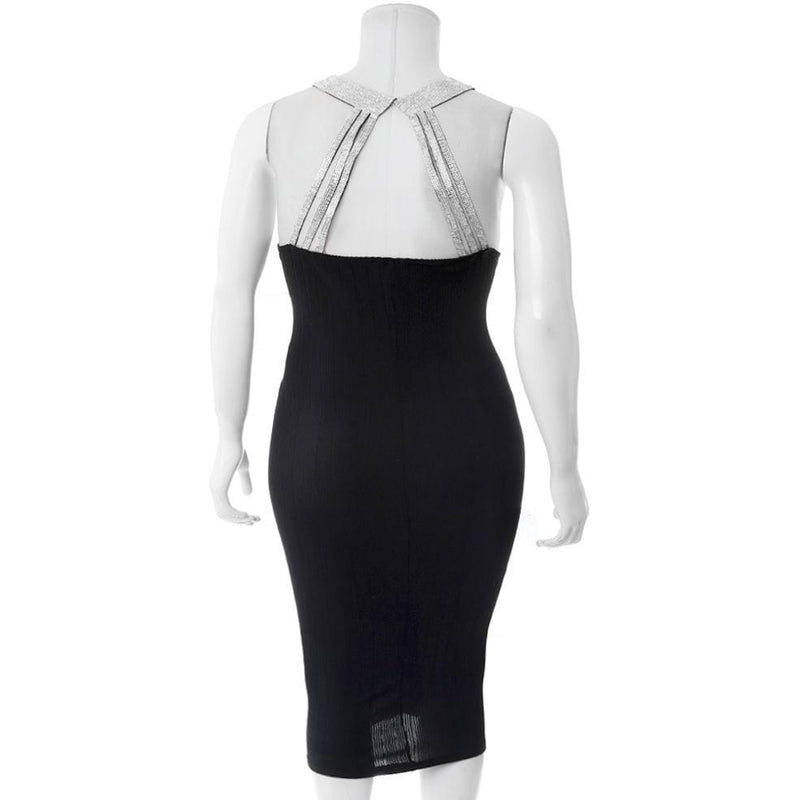 Posh Shoppe: Plus Size Diamond Collar Ribbed Dress Dress