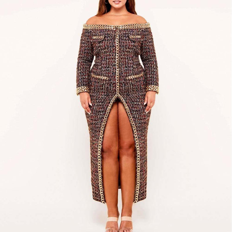 Plus Size Chain Trim Tweed Coat Dress