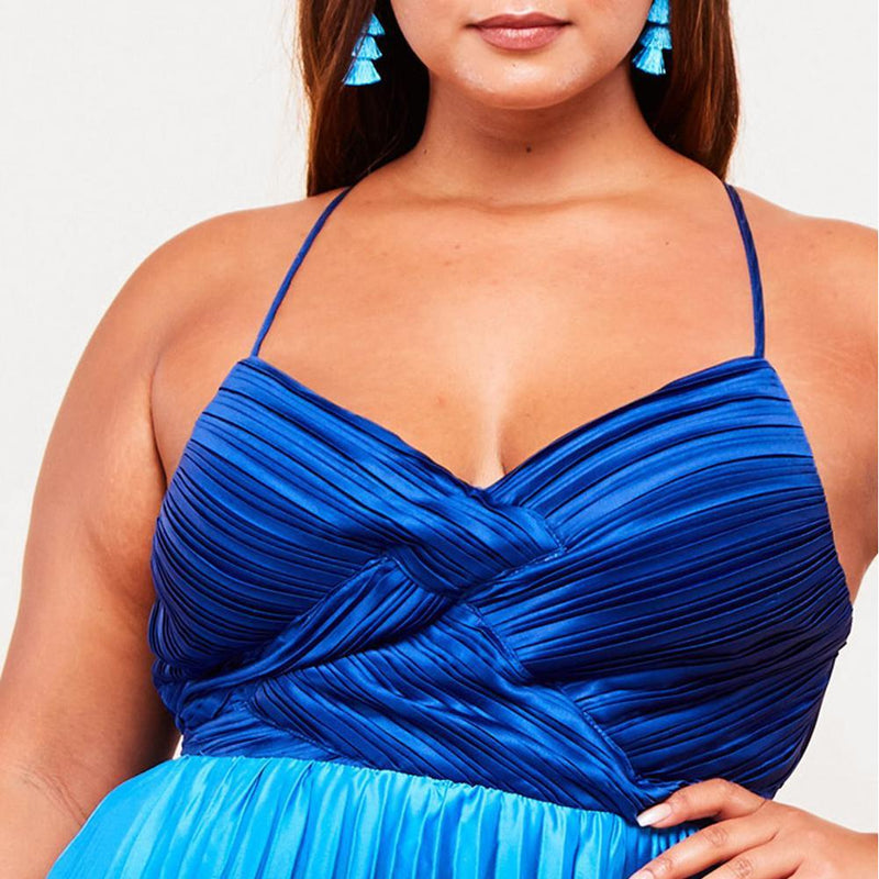Posh Shoppe: Plus Size Pleated Maxi Dress, Mermaid Dip Dye Dress
