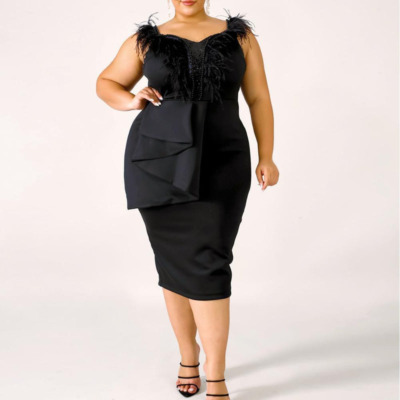 Plus Size Feather Trim Little Black Dress