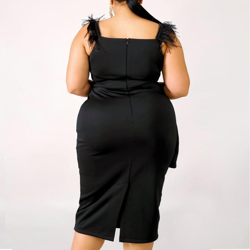 Posh Shoppe: Plus Size Feather Trim Little Black Dress Dress