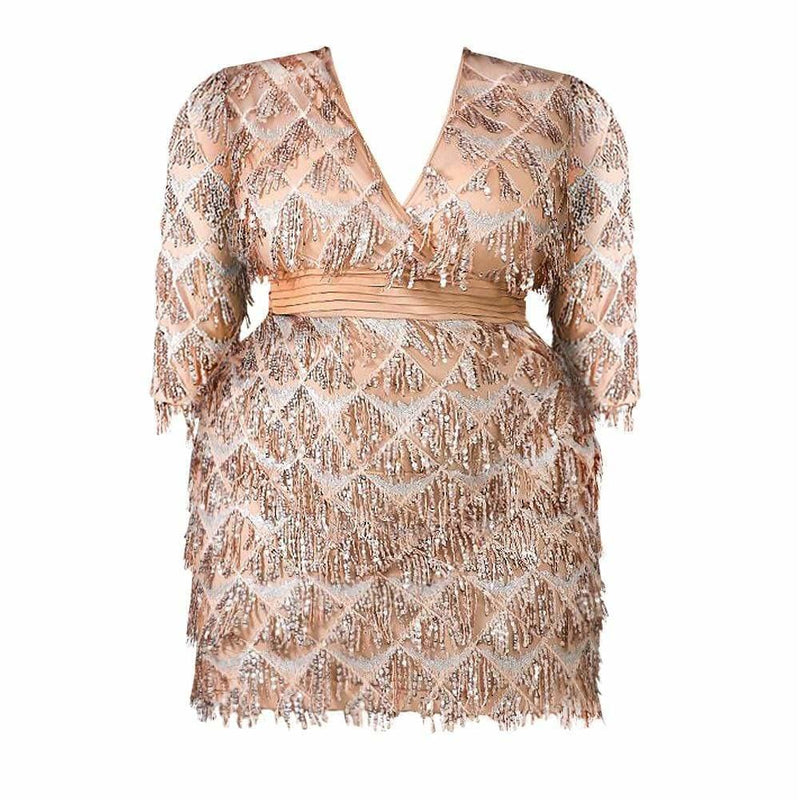 Posh Shoppe: Plus Size Sequin Fringe Mini Dress, Nude Dress