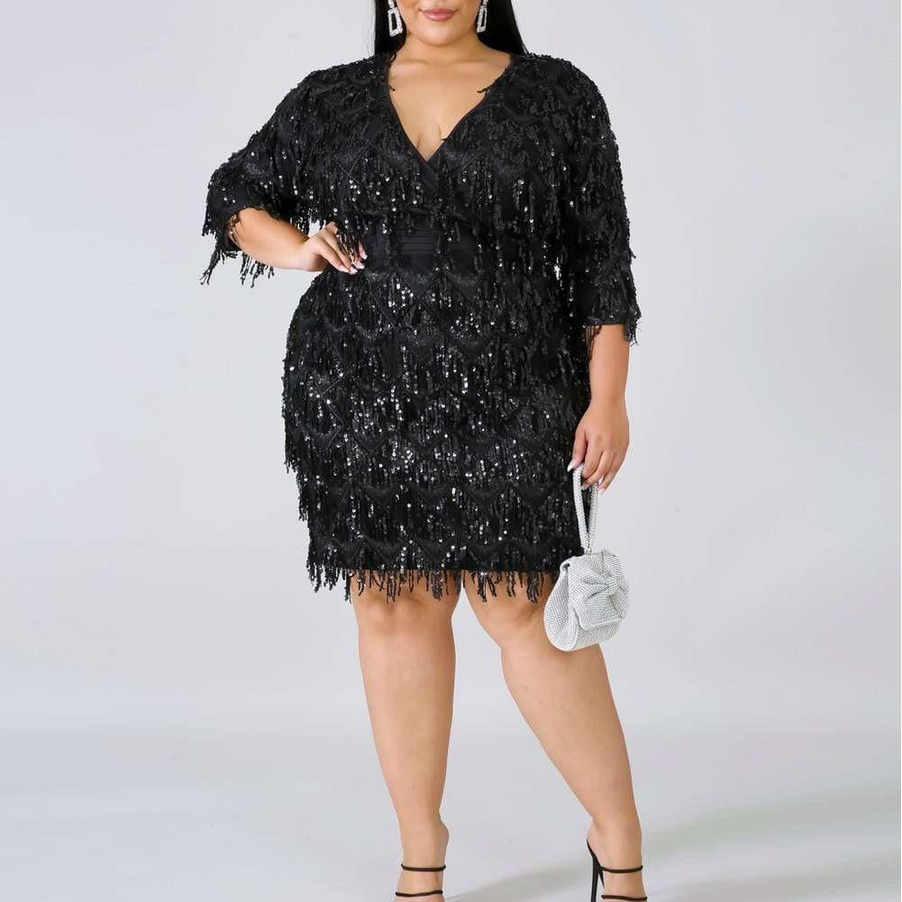 Plus Size Sequin Fringe Mini Dress, Black