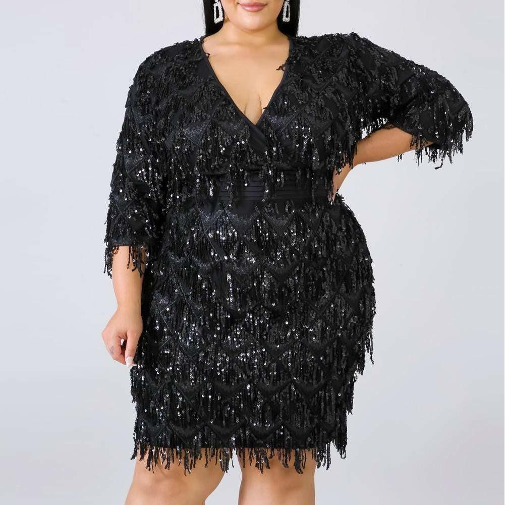 Posh Shoppe: Plus Size Sequin Fringe Mini Dress, Black Dress