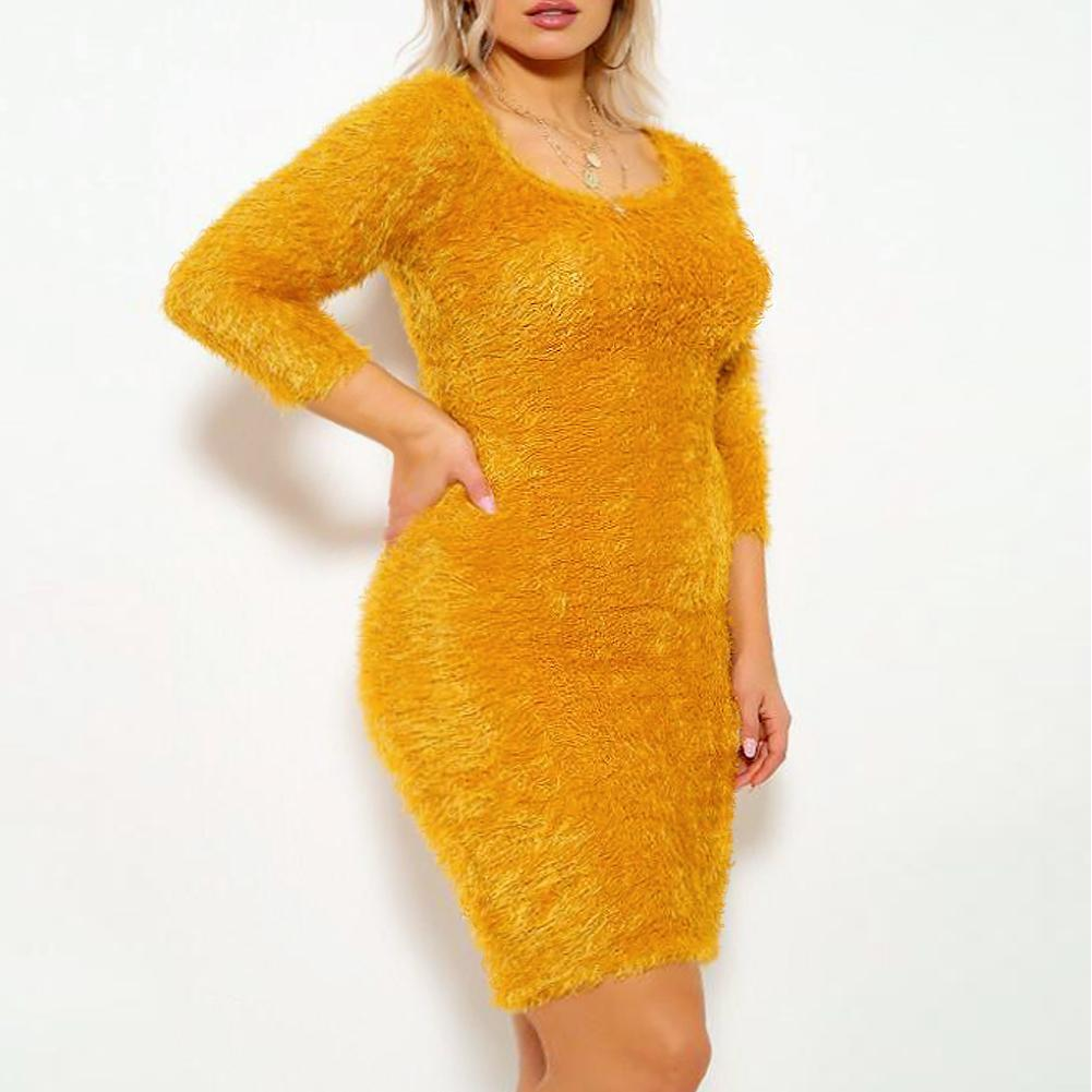 Plus Size Teddy Knit Mini Dress, Mustard