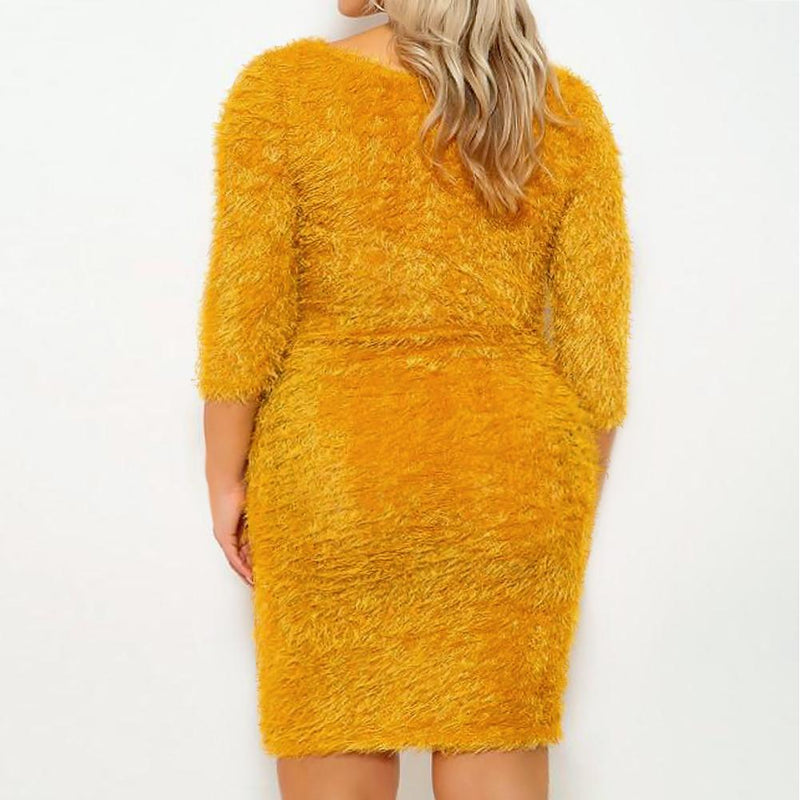 Posh Shoppe: Plus Size Teddy Knit Mini Dress, Mustard Dress