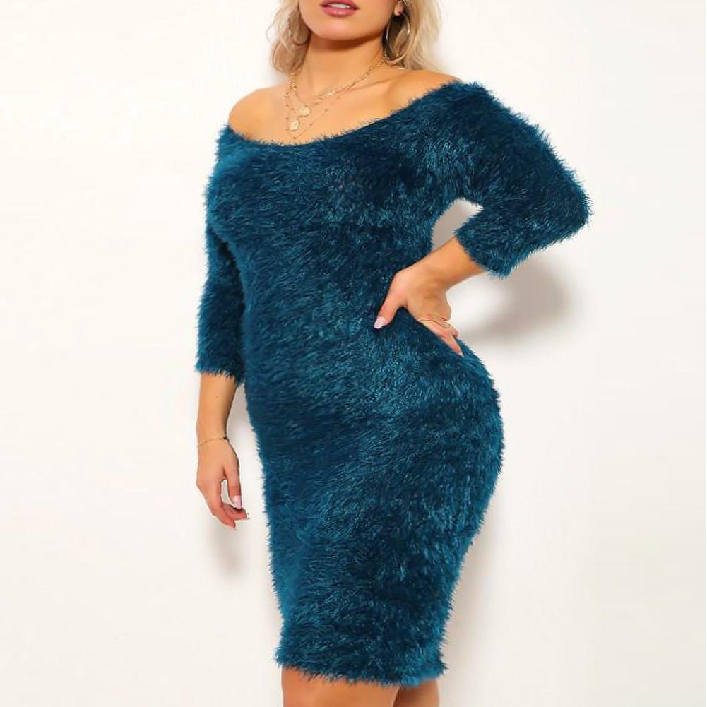 Plus Size Teddy Knit Mini Dress, Teal
