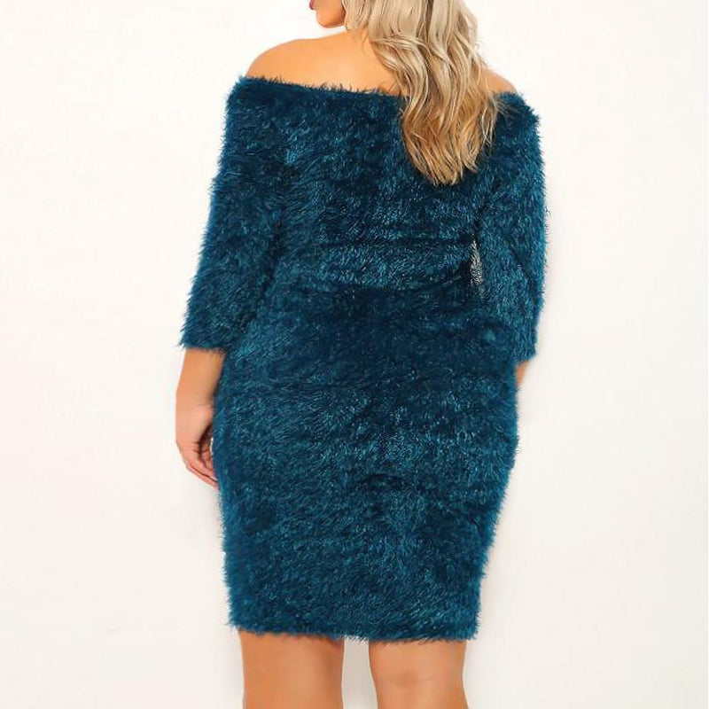 Posh Shoppe: Plus Size Teddy Knit Mini Dress, Teal Dress
