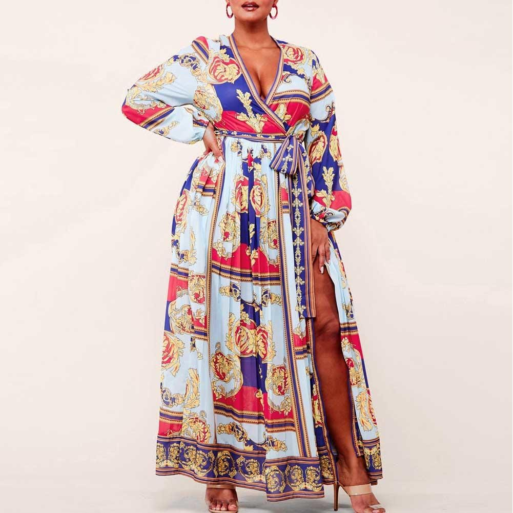 Posh Shoppe: Plus Size Wrap Around Scarf Print Maxi Dress