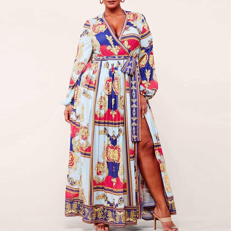 Plus Size Wrap Around Scarf Print Maxi