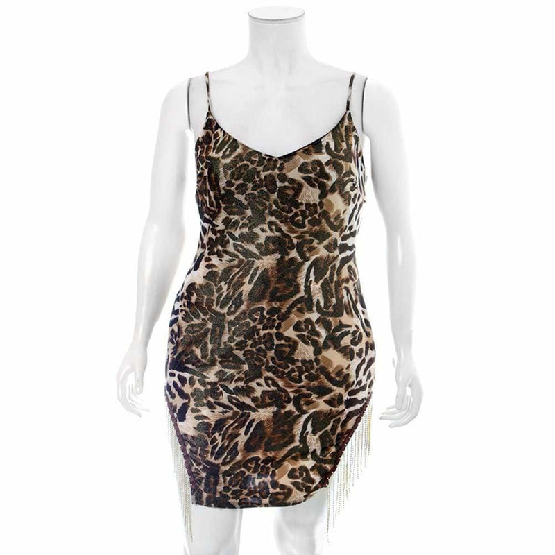 Plus Size Diamond Fringe Slip Dress, Animal Print
