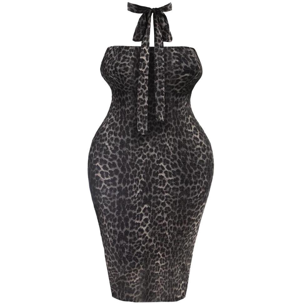 Plus Size Tie Back Knit Dress, Animal Print