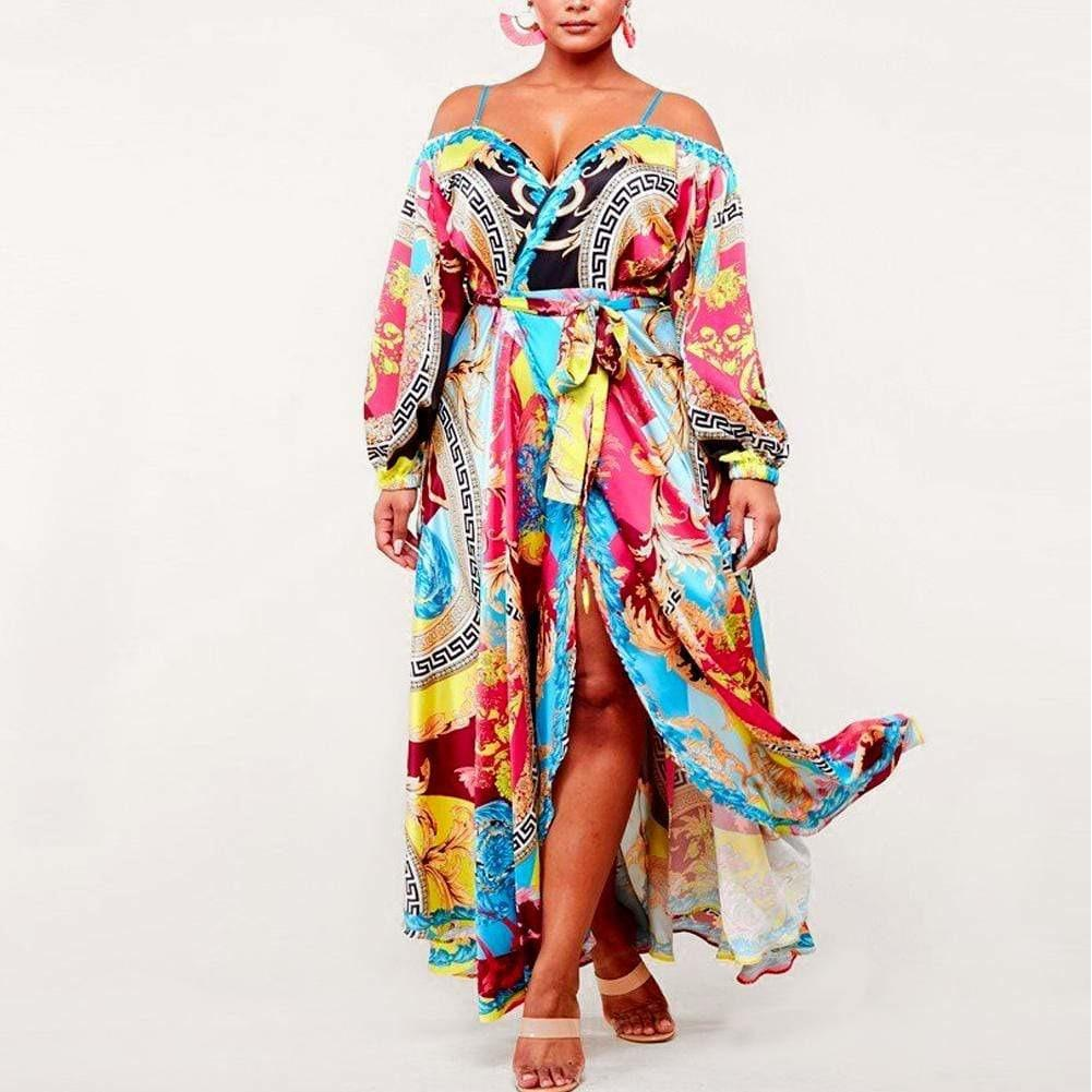 Posh Shoppe: Plus Size Sweet Heart Neckline Wrap Maxi Dress Dress