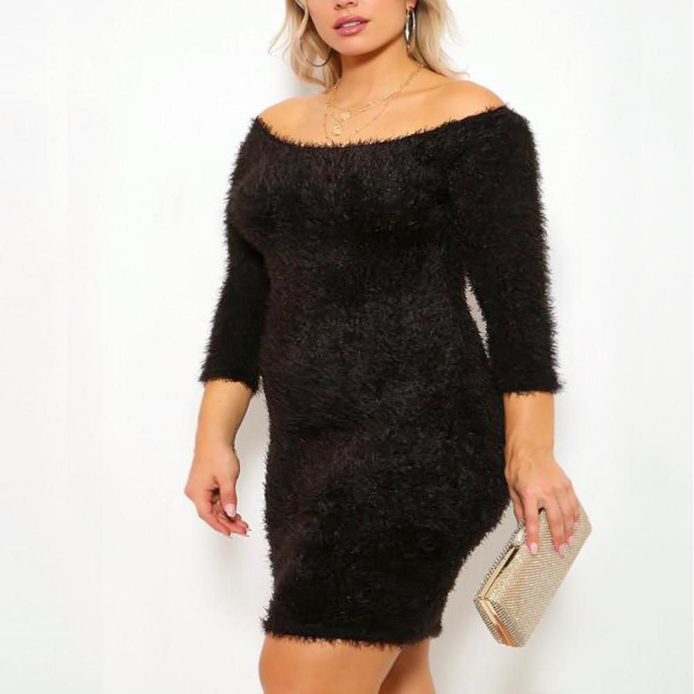 Plus Size Teddy Knit Mini Dress, Black