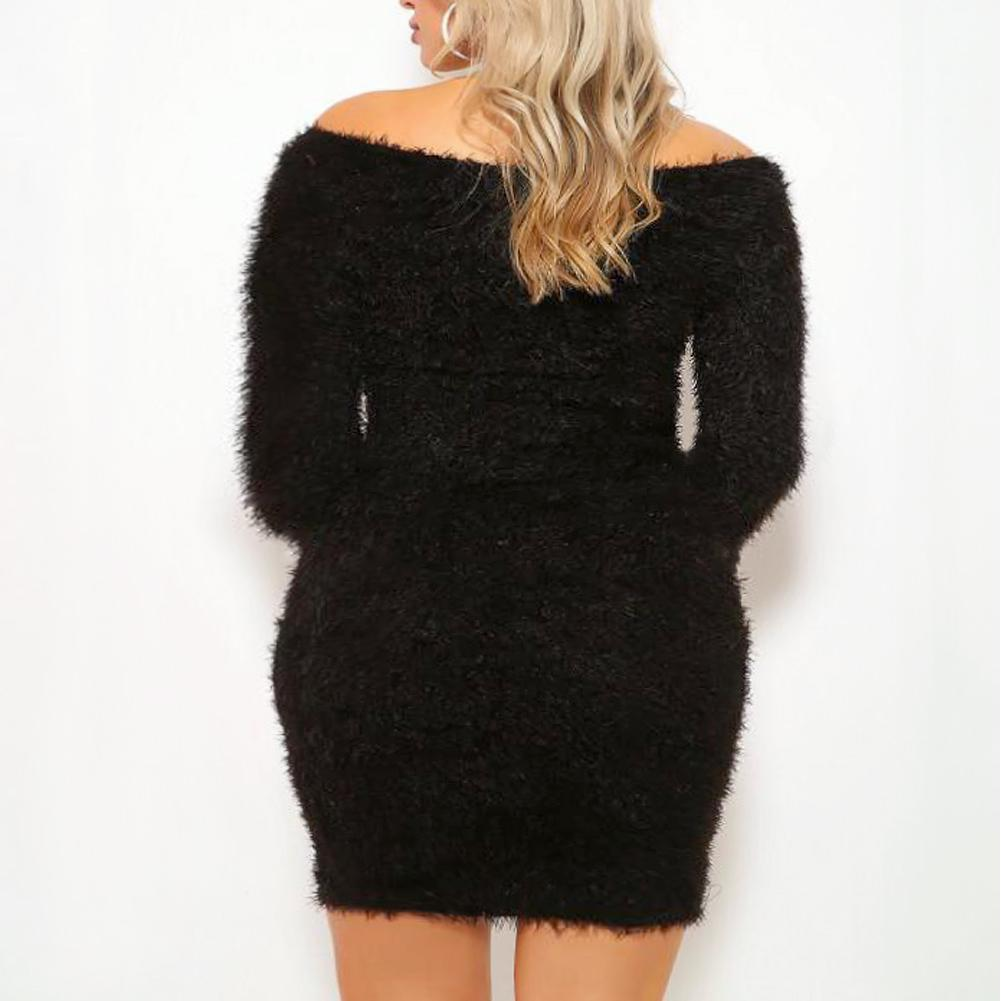 Posh Shoppe: Plus Size Teddy Knit Mini Dress, Black Dress