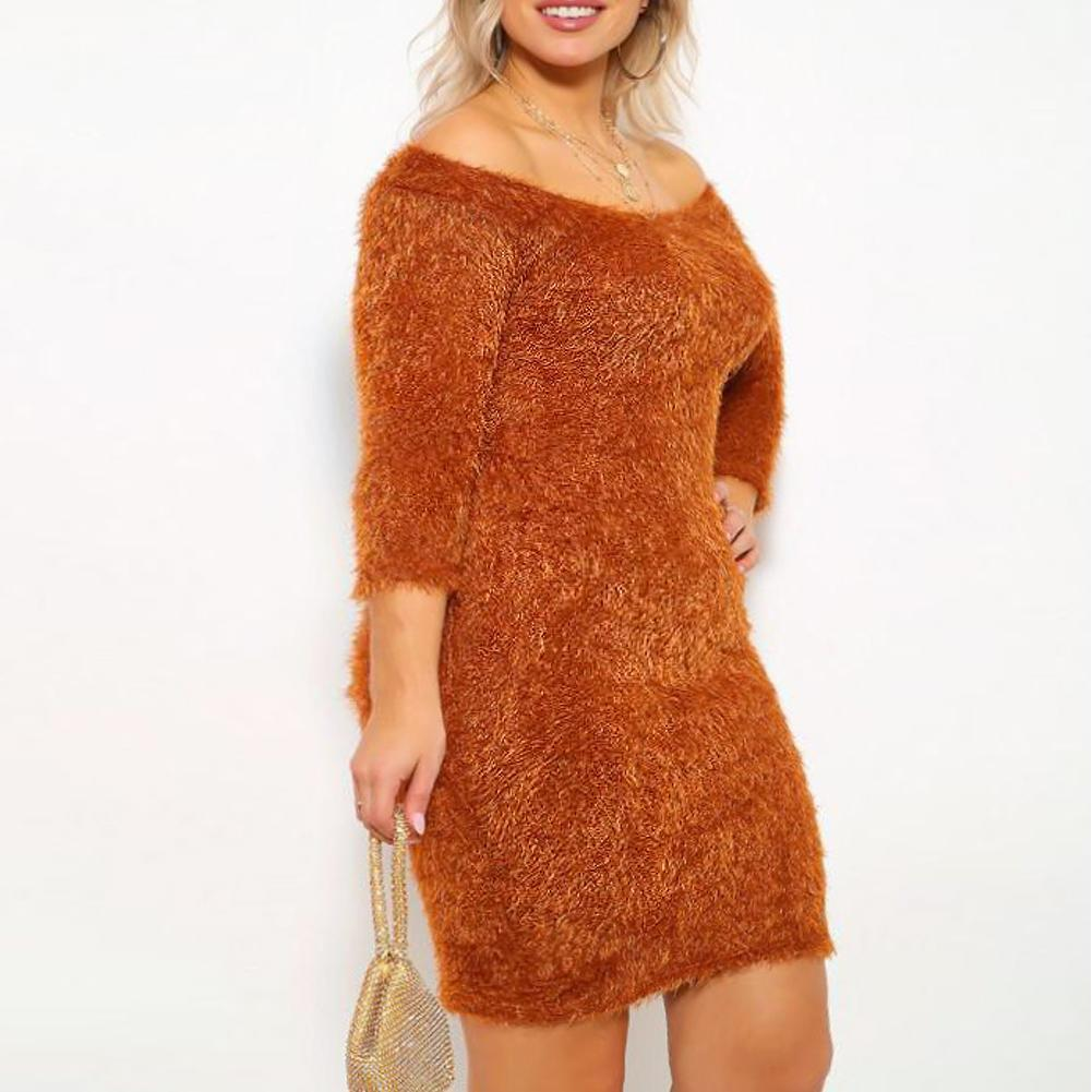 Posh Shoppe: Plus Size Teddy Knit Mini Dress, Rust Dress