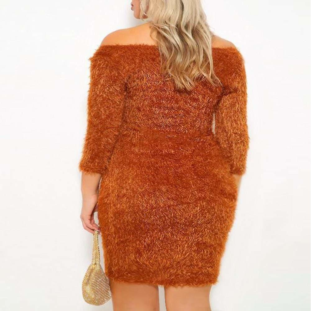 Plus Size Teddy Knit Mini Dress, Rust